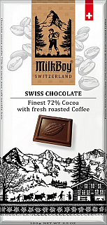 MILKBOY SWISS Hořká čokoláda 72% fresh roasted Coffee 100g